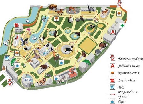 Схема Ленинградского зоопарка.